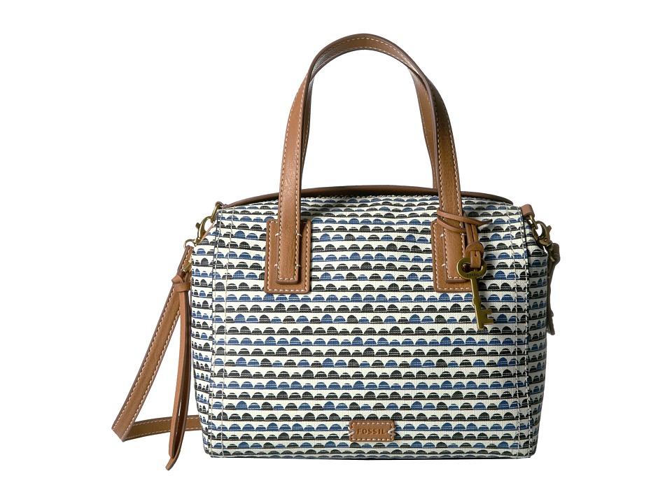 Fossil - Emma Satchel (Blue Print) Satchel Handbags