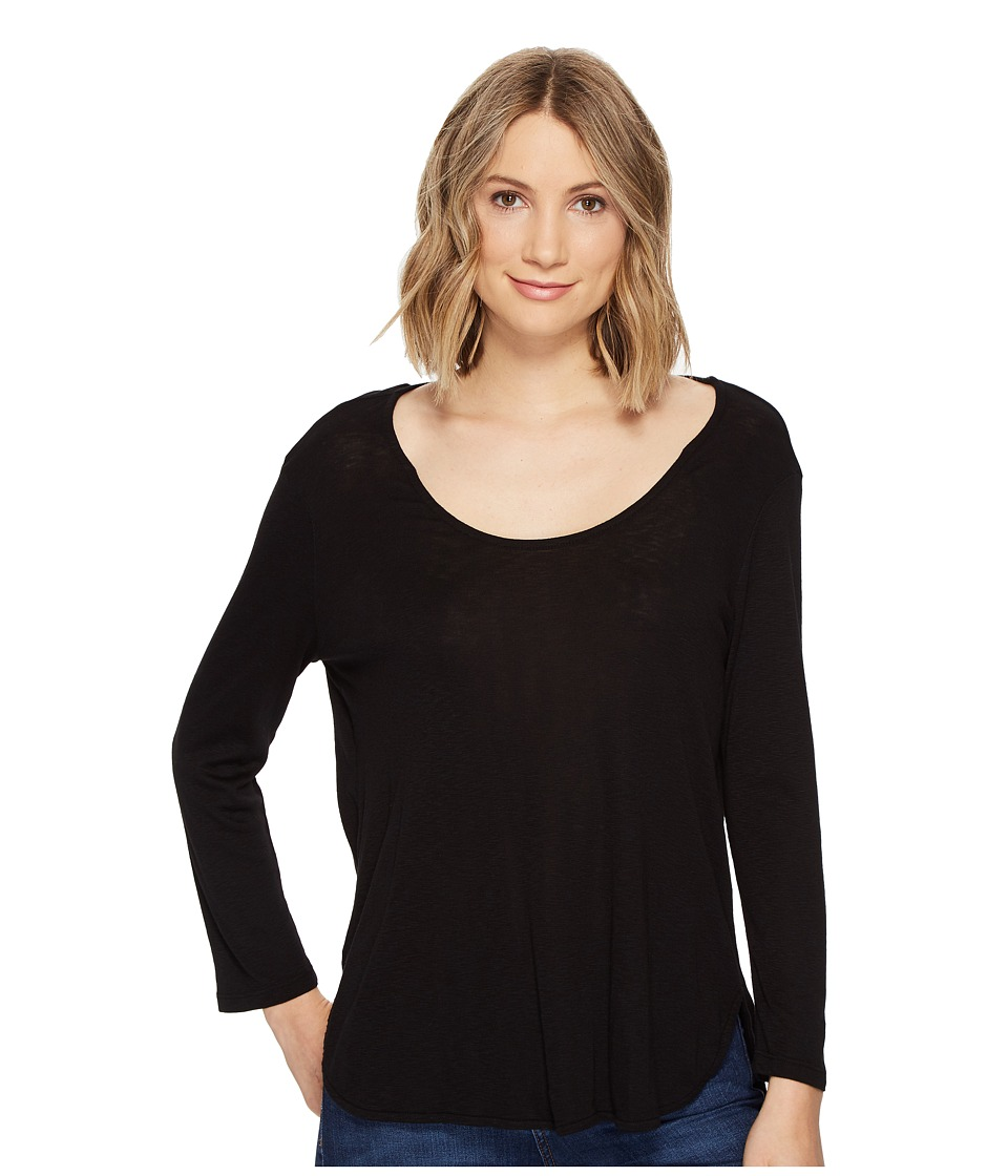 Michael Stars - Slub 3/4 Sleeve Scoop Neck Tee (Black) Women's Clothing