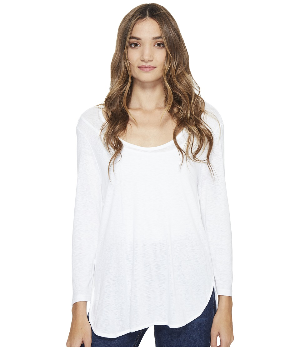 Michael Stars Slub 3/4 Sleeve Scoop Neck Tee (White) Women