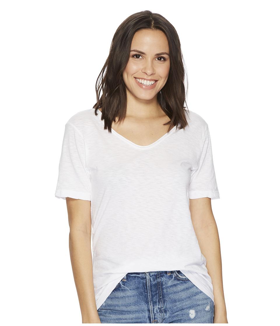 Michael Stars - Supima Cotton Slub Short Sleeve with Raw Edge (White) Women's Clothing