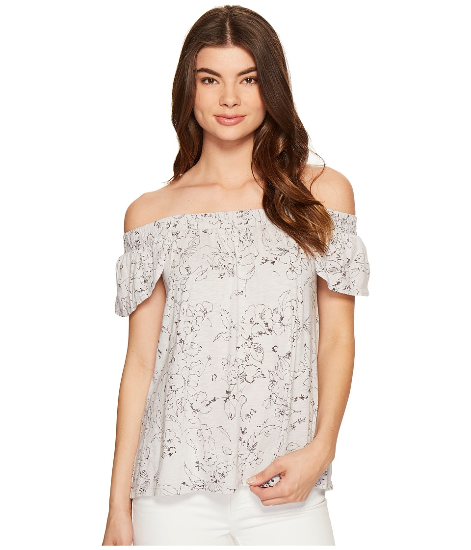 Michael Stars - Floral Print Off the Shoulder Tee (Crescent) Women's T Shirt