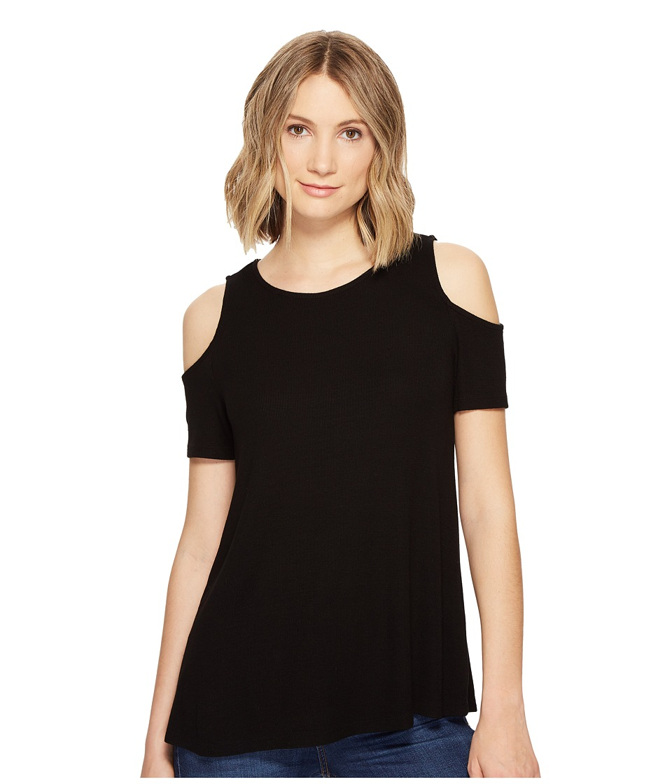 Michael Stars - 2X1 Rib Cold Shoulder Top (Black) Women's Clothing