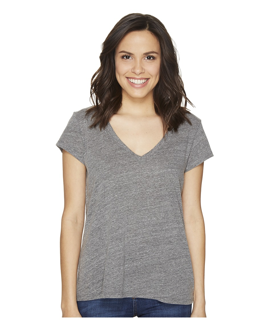 Michael Stars - Jersey Short Sleeve V-Neck (Heather Grey) Women's Clothing