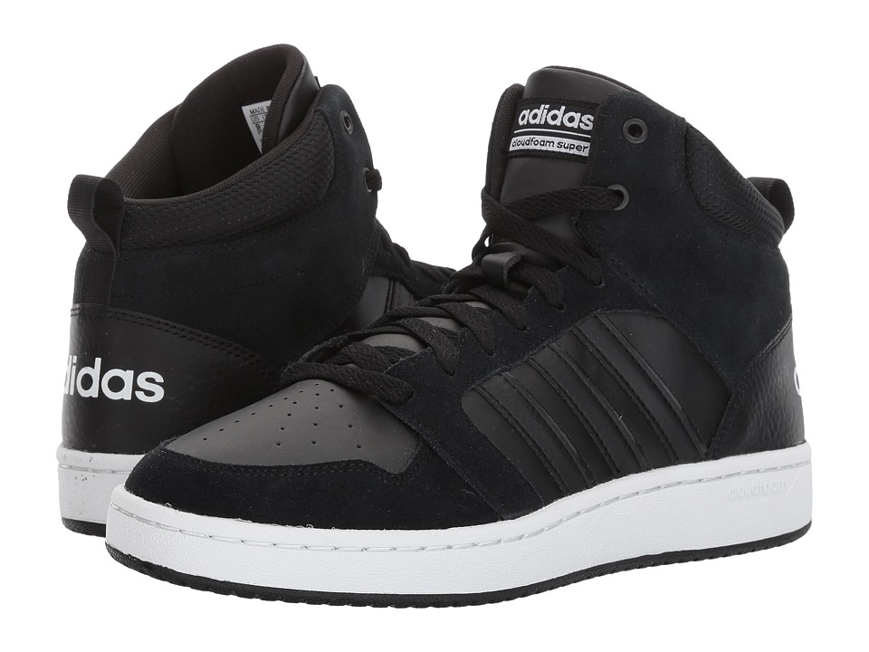 adidas - Cloudfoam Super Hoops Mid (Core Black/Core Black/Crystal White) Men's Basketball Shoes