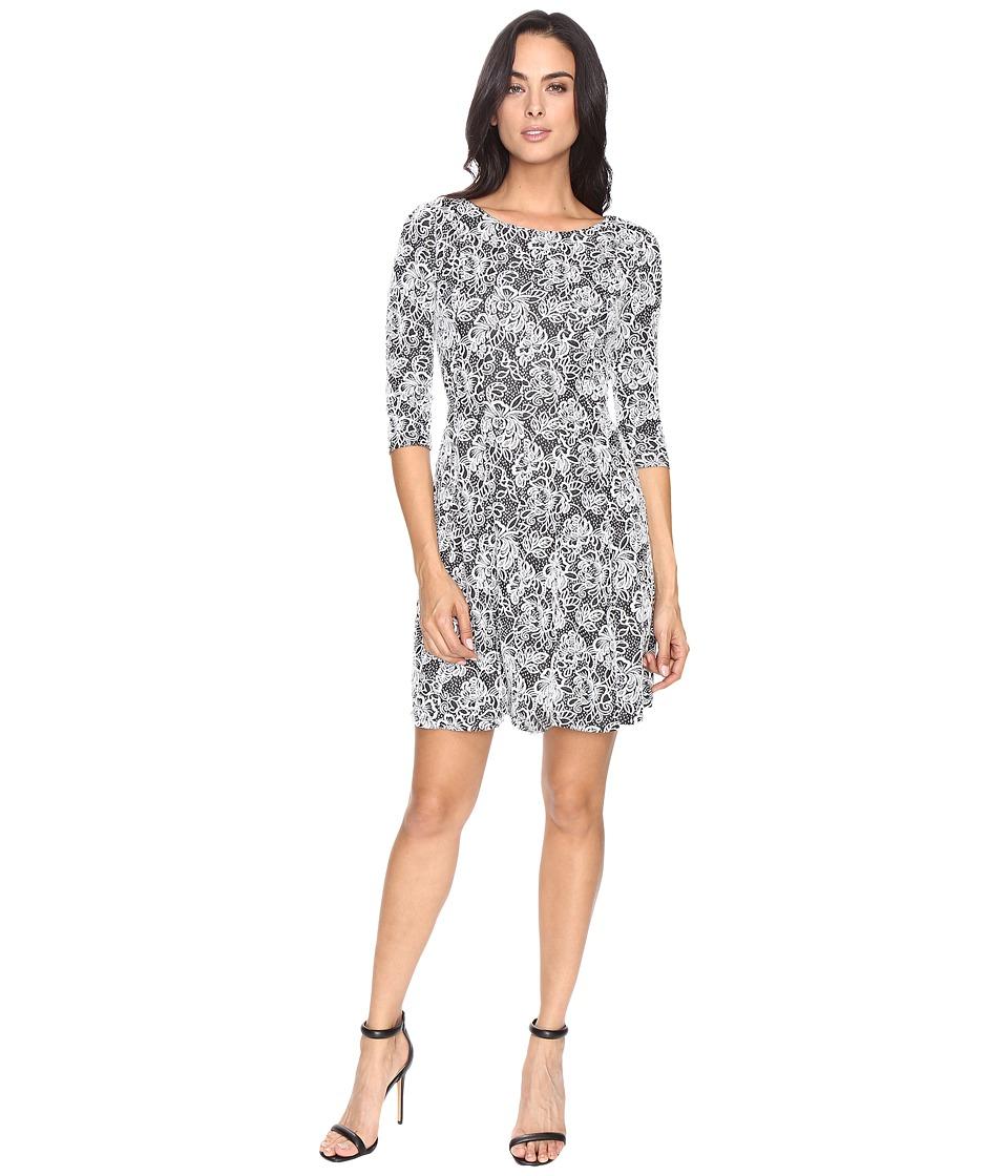 Taylor - Fit Flare Knit Jacquard Dress (Black/Ivory) Women's Dress