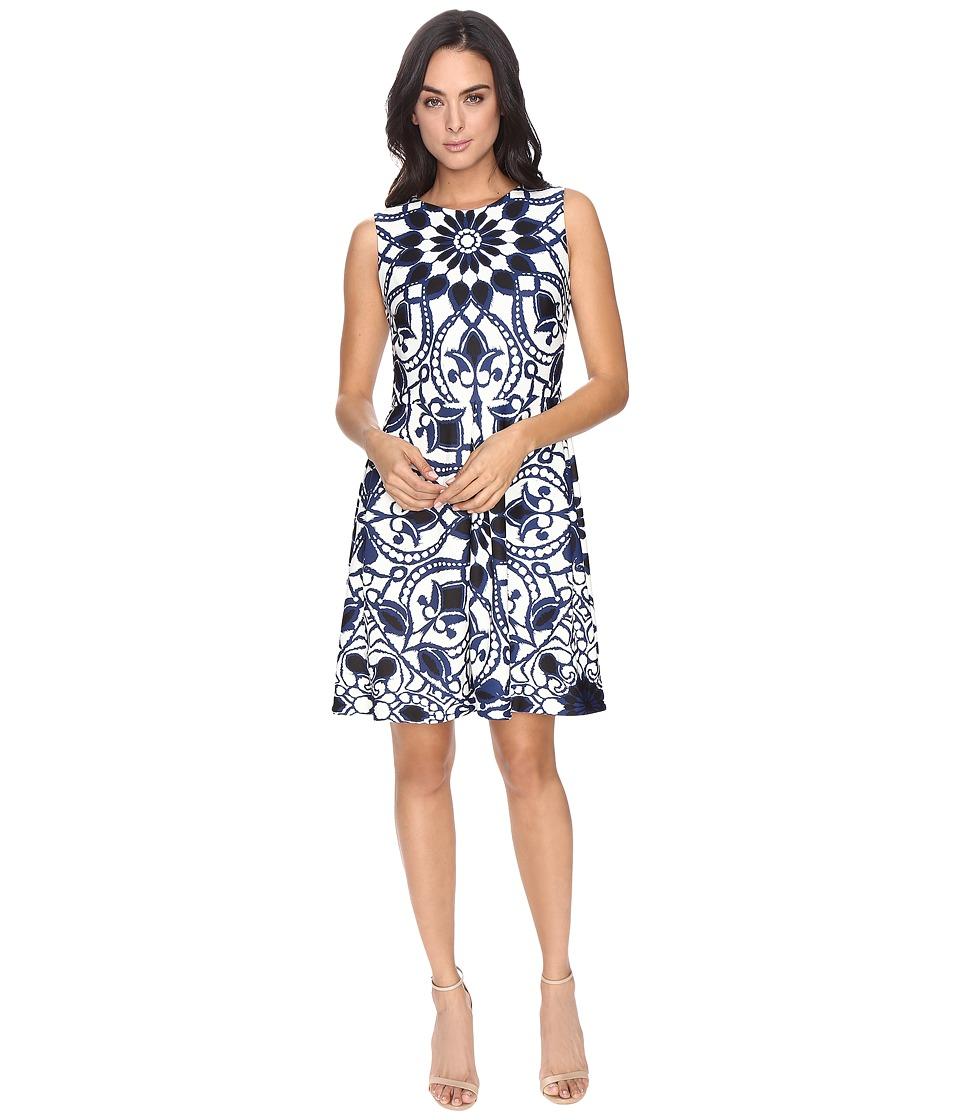 Taylor - Scuba Fit Flare Dress (Navy/Ivory) Women's Dress