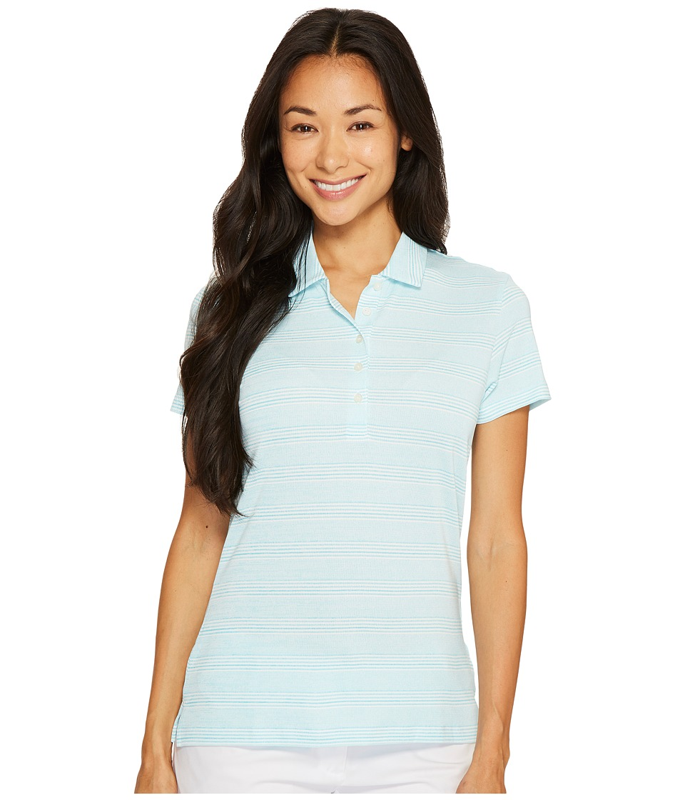 PUMA Golf - Heather Stripe Polo (NRGY Turquoise) Women's Short Sleeve Pullover
