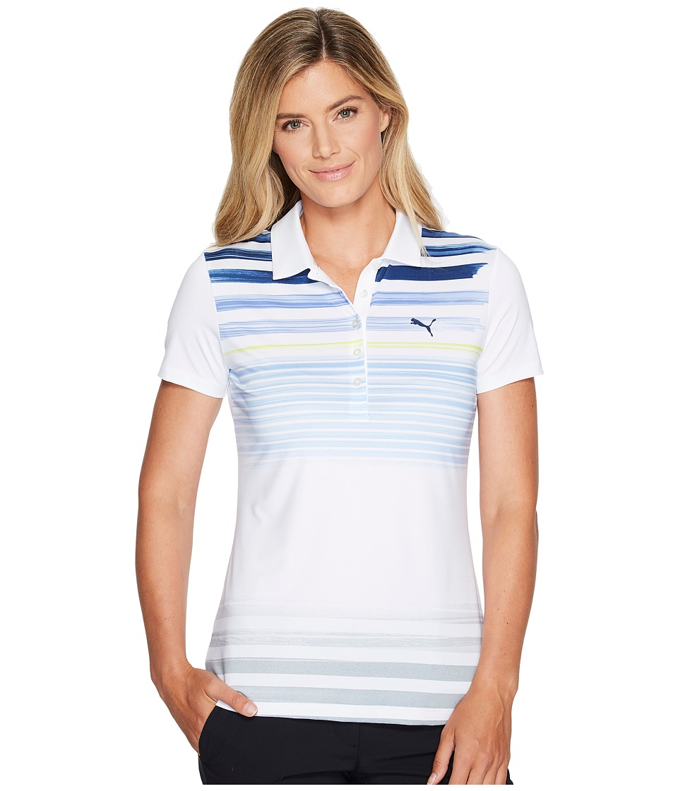 PUMA Golf - Road Map Polo (Bright White/Lapis Blue) Women's Short Sleeve Pullover
