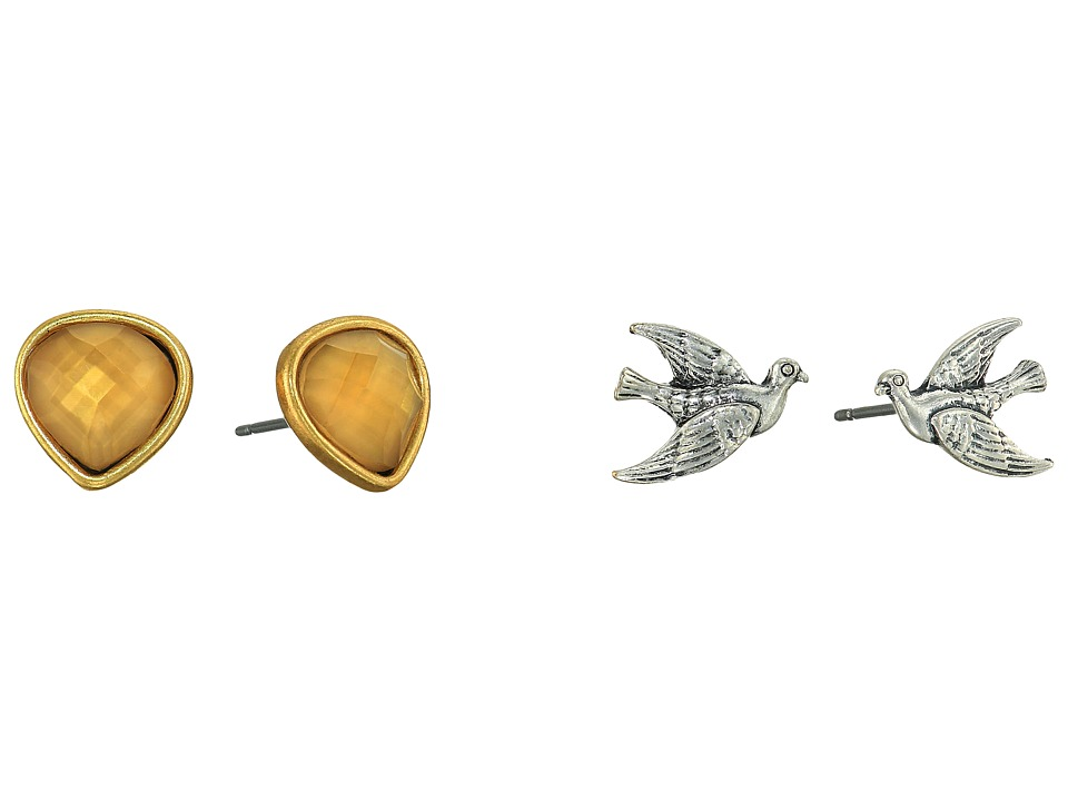 Lucky Brand - Bird and Citrine Stud Earrings Set (Two-Tone) Earring