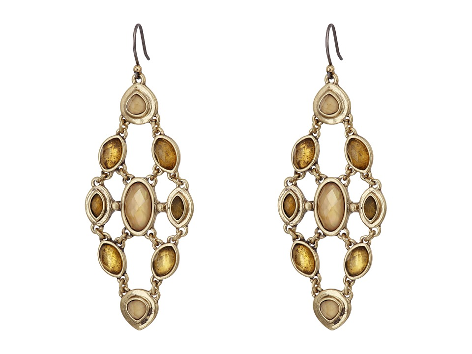 Lucky Brand - Citrine and Mother-of-Pearl Chandelier Earrings (Gold) Earring