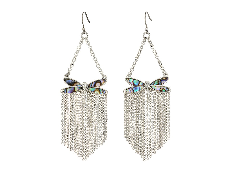 Lucky Brand - Abalone Dragonfly Fringe Earrings (Silver) Earring