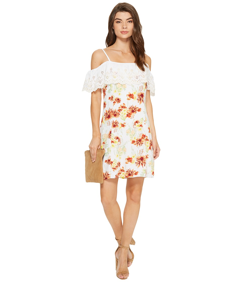 kensie Botanical Floral Cold Shoulder Dress