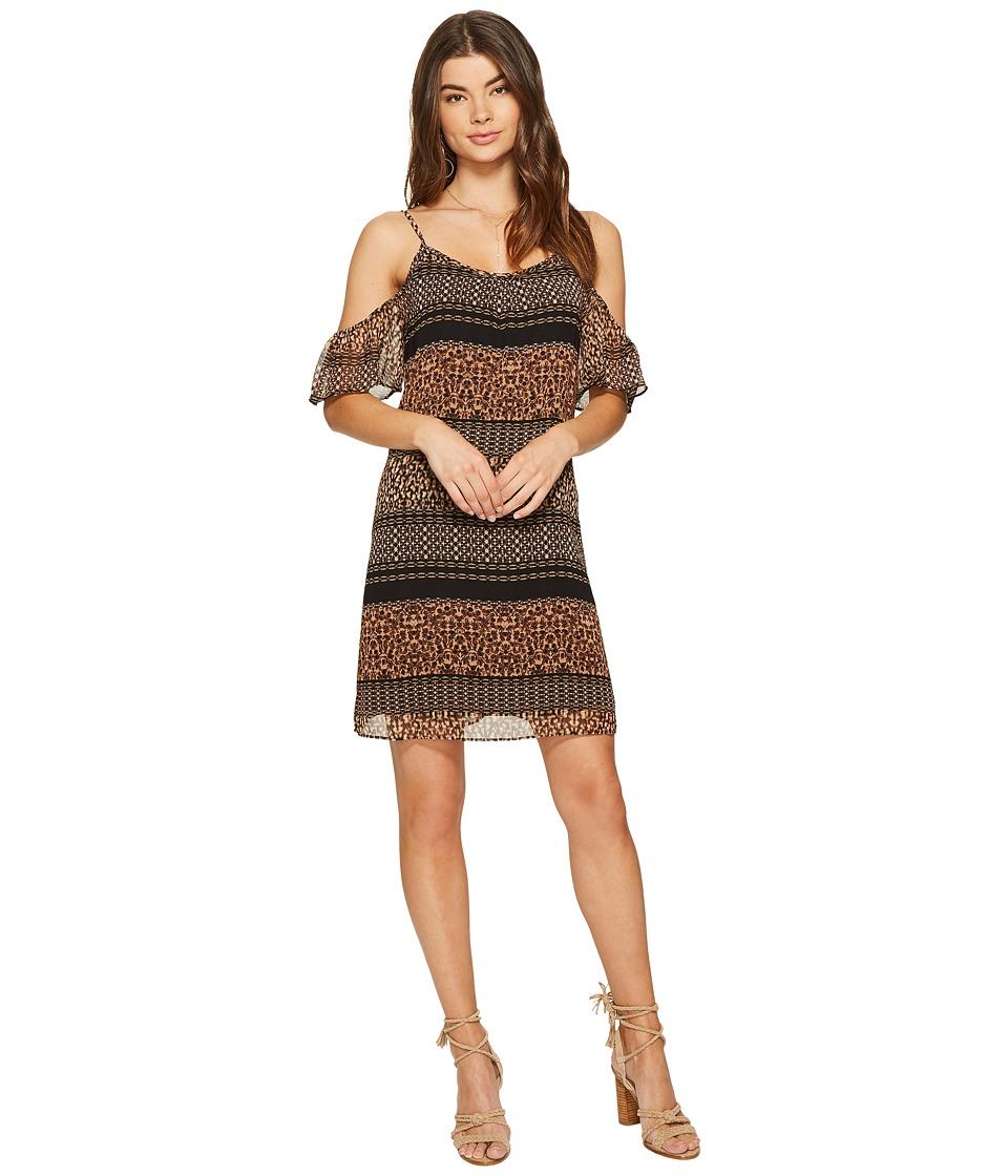 kensie Animal Mash Up Cold Shoulder Dress KS7K7164 (Rosy Nude Combo) Women