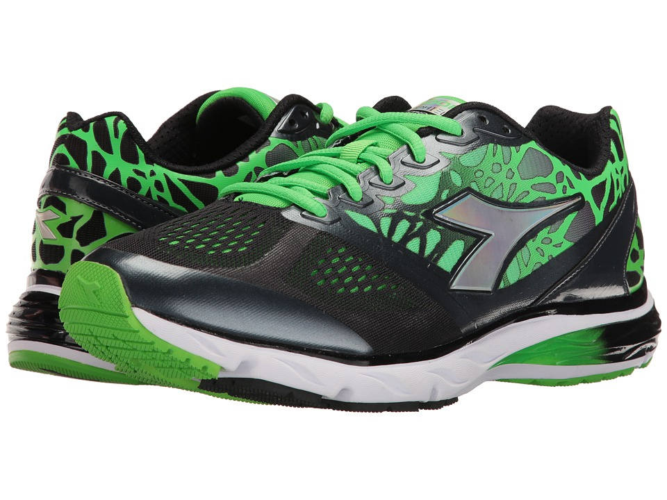 Diadora - Mythos Blushield (Black/Green Fluo) Men's Shoes