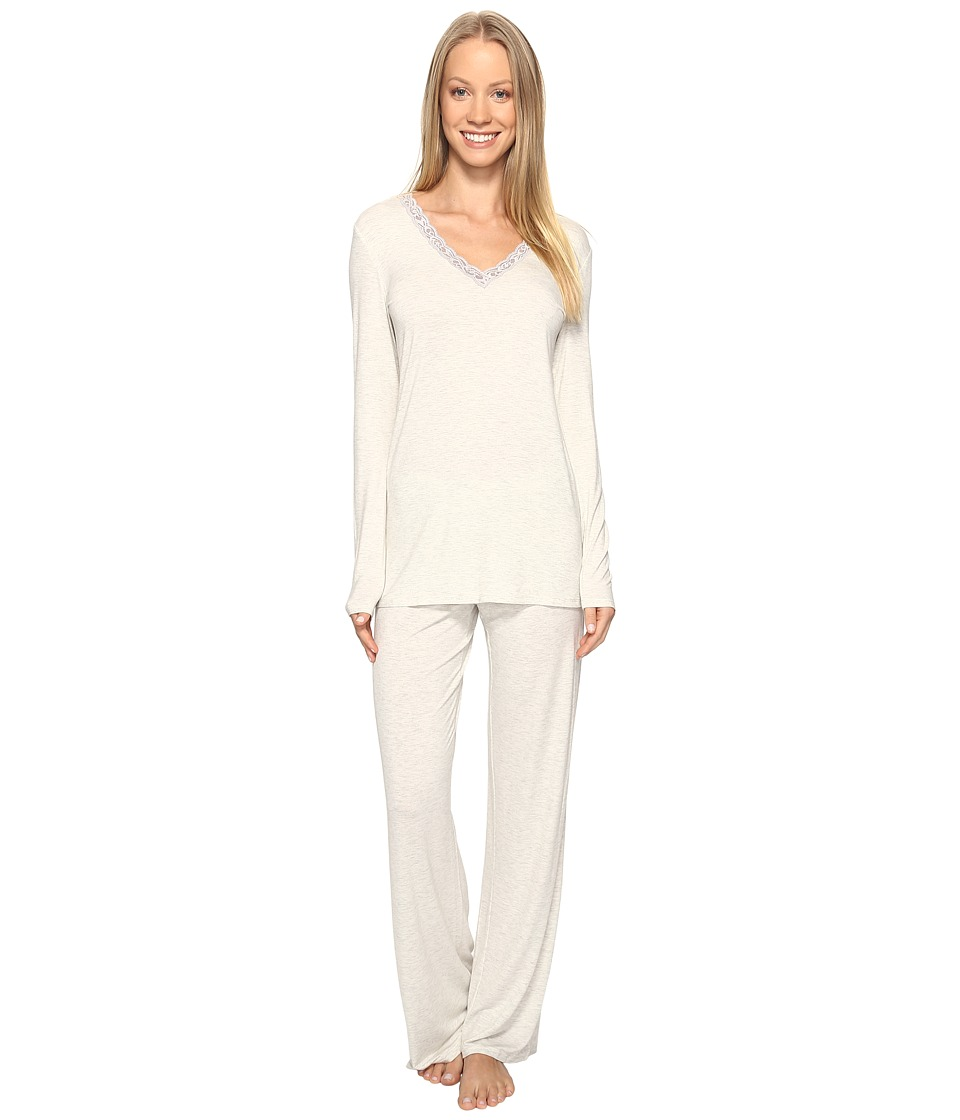 Natori - Feathers Long Sleeve PJ (Heather Pebble Stone) Women's Pajama Sets