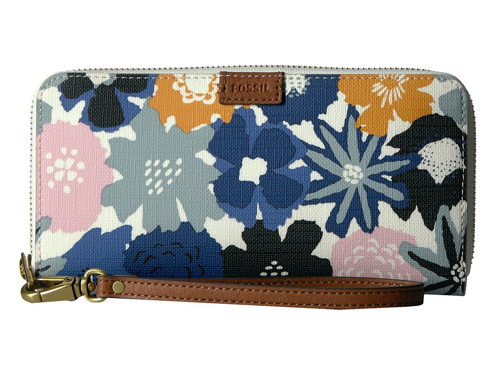 Fossil - Emma Large Zip Clutch RFID (Navy Floral) Clutch Handbags