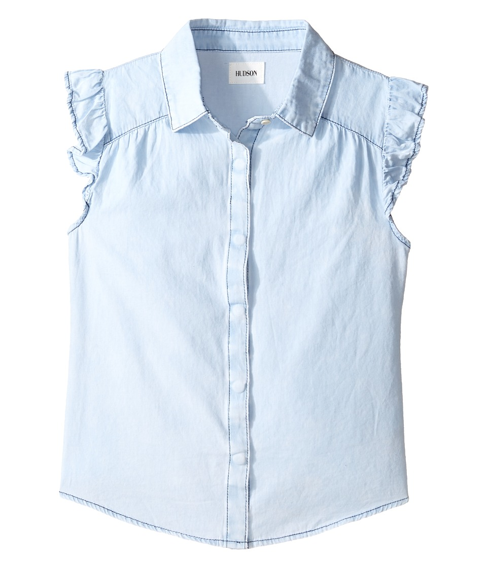 Hudson Kids - Chambray Ruffle Shirt (Big Kids) (Blueberry) Girl's Clothing