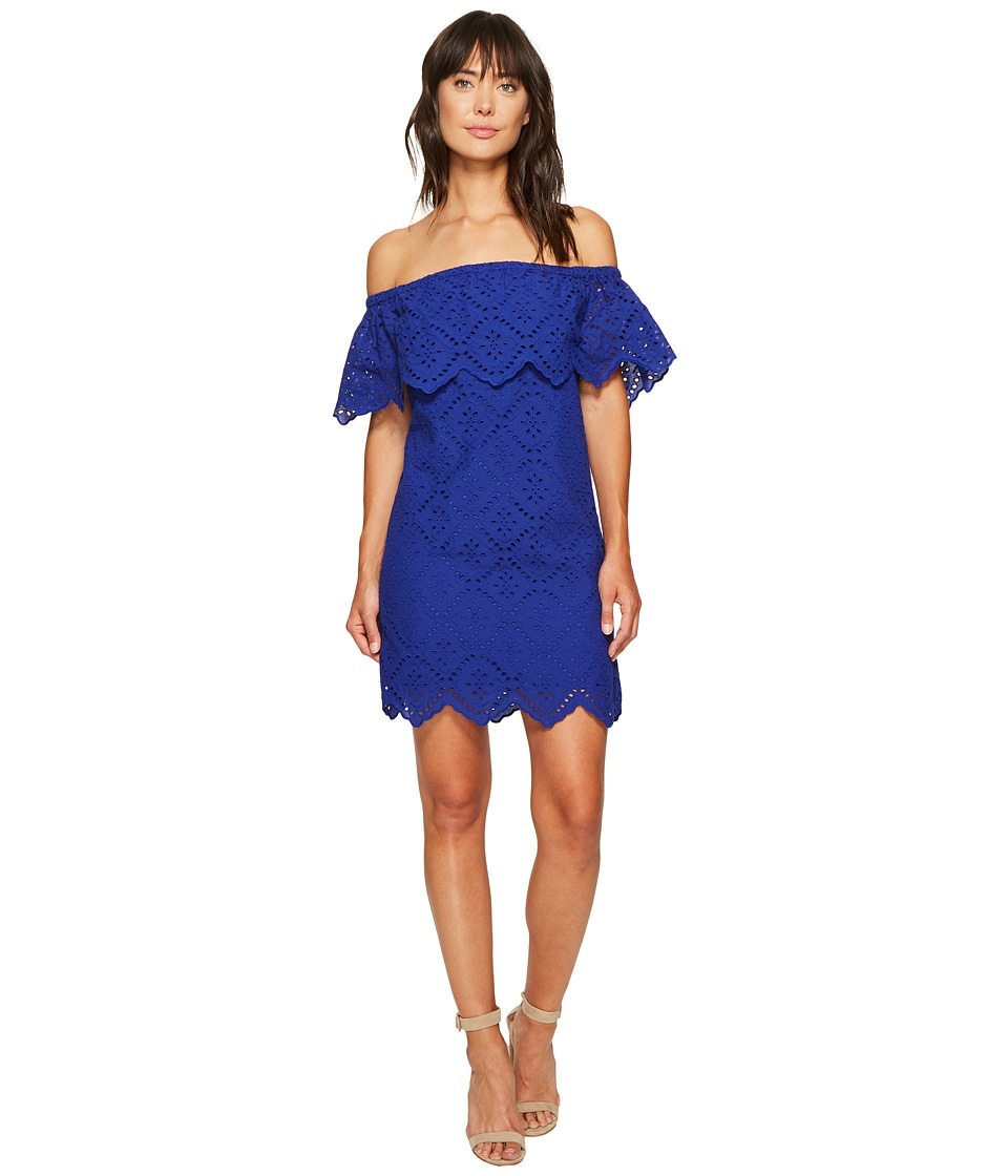 kensie - Petal Eyelet Off Shoulder Dress KS6K993S (Dark Sapphire) Women's Dress