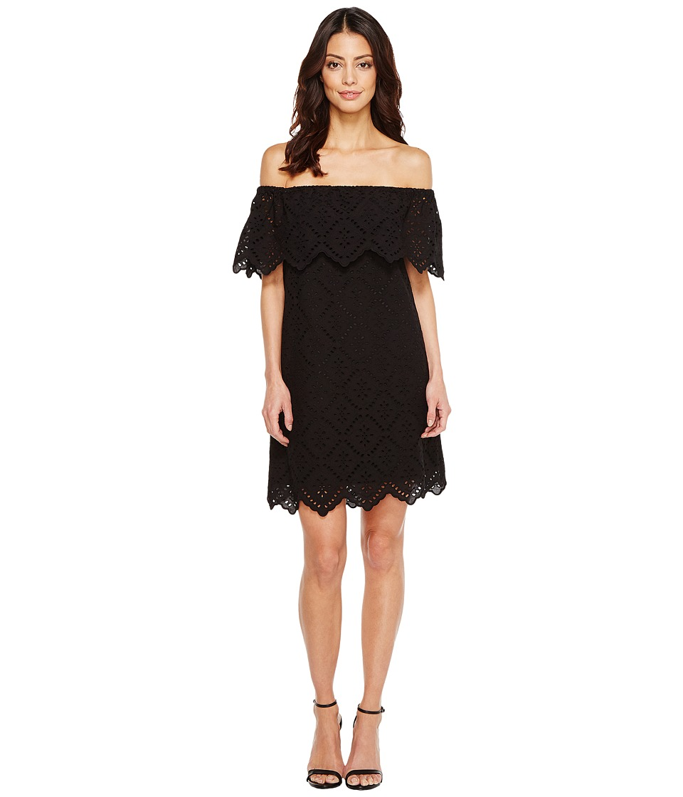 kensie - Petal Eyelet Off Shoulder Dress KS6K993S (Black) Women's Dress