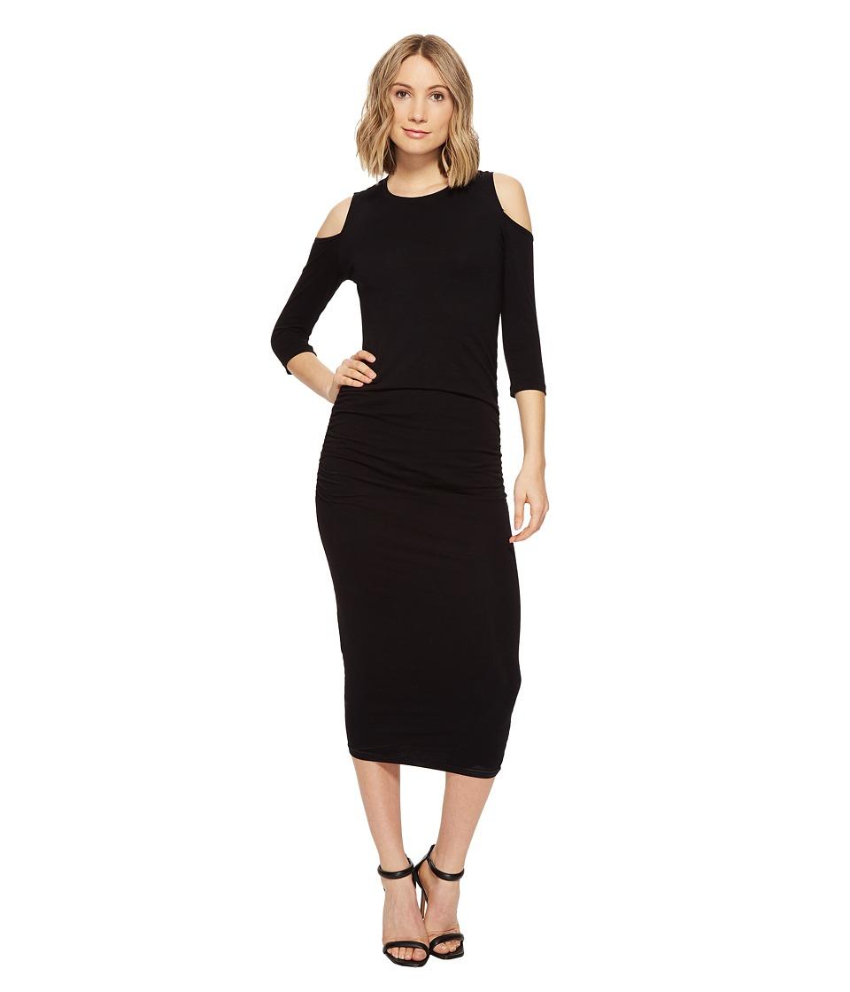 Michael Stars Cold Shoulder Midi Dress w/ Shirring (Black) Women
