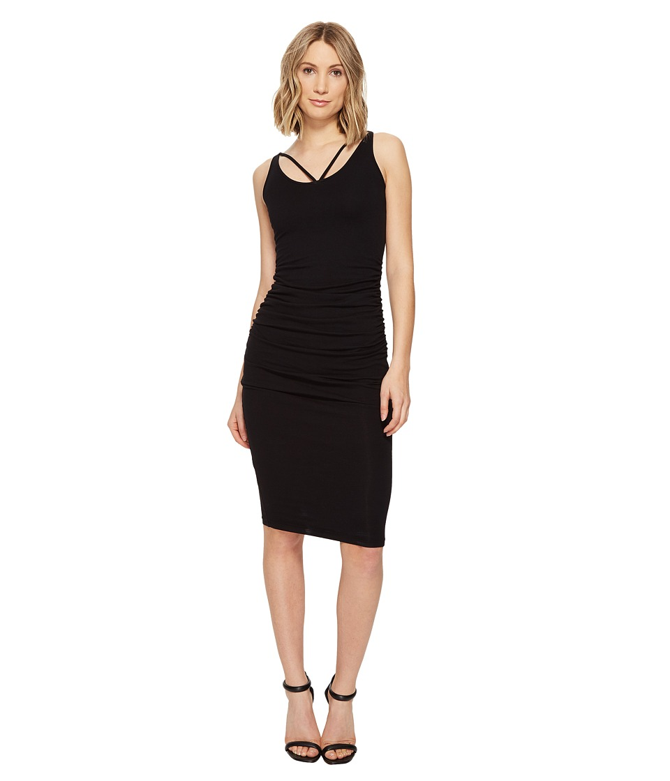 Michael Stars - Front To Back Midi Dress w/ Shirring (Black) Women's Dress