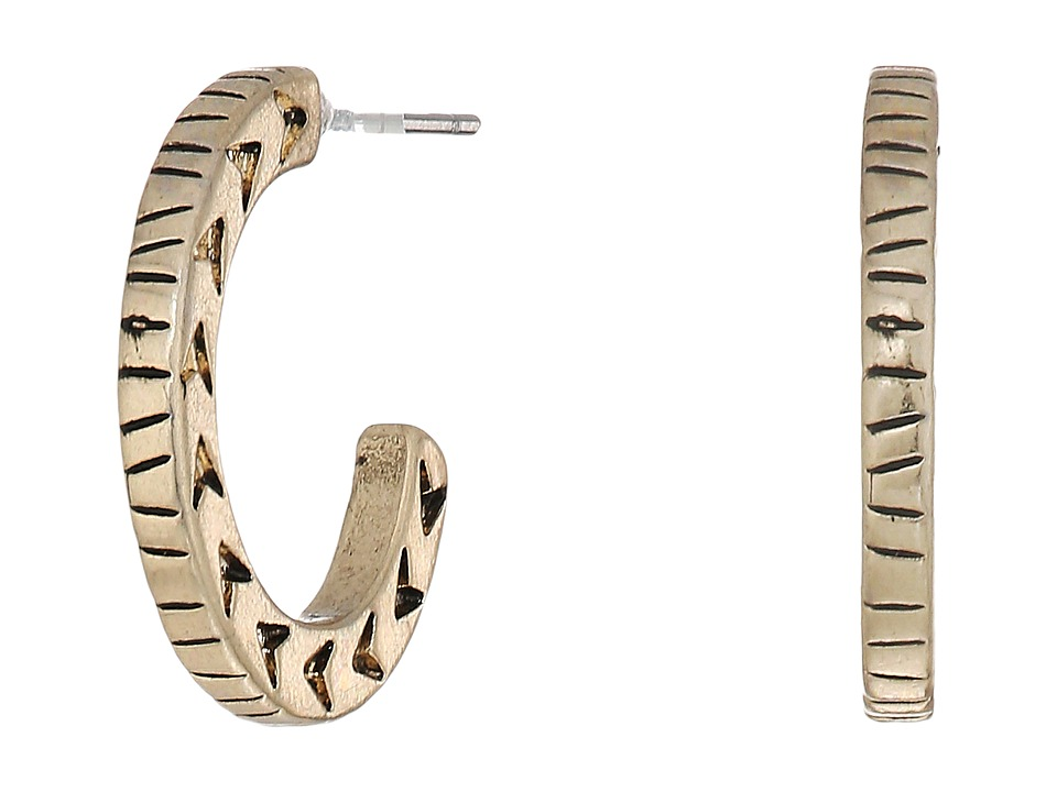 The Sak - Small Etched C Hoop Earrings (Gold) Earring