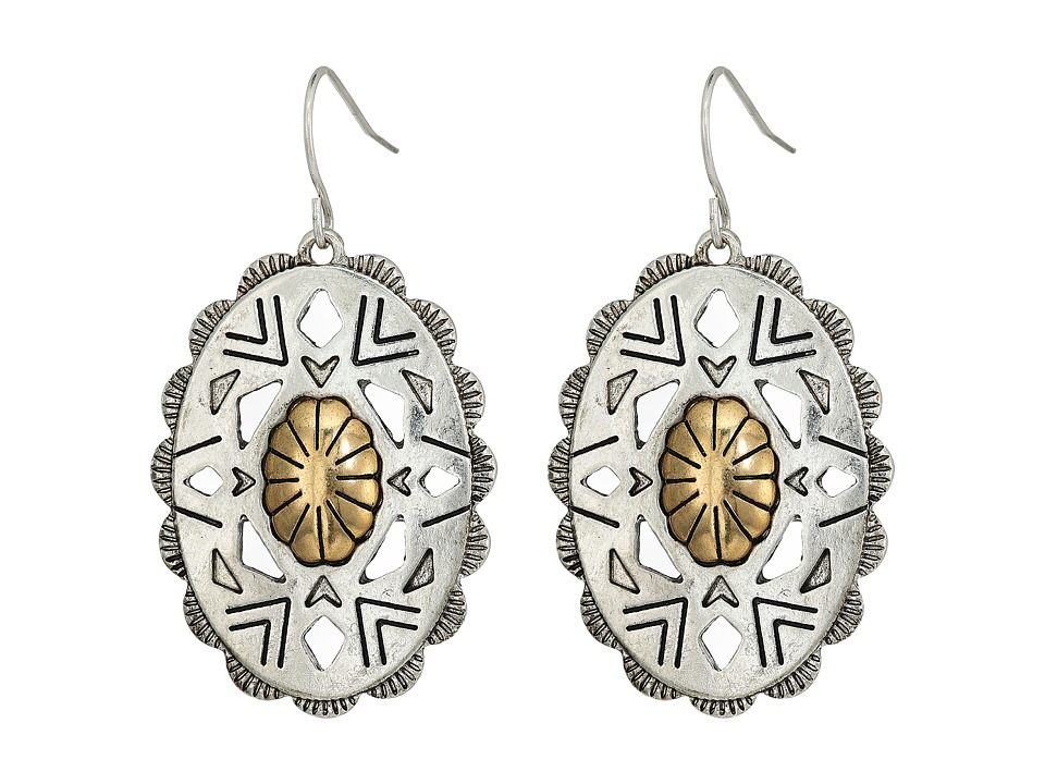 The Sak - Oval Concho Drop Earrings (Two-Tone) Earring