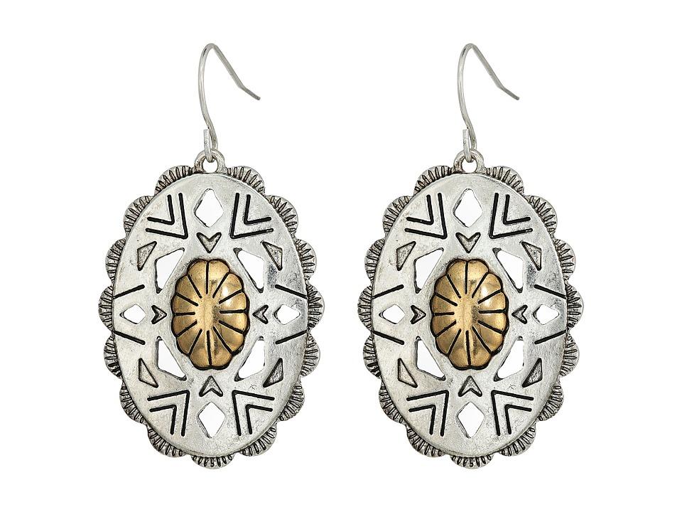 The Sak - Oval Concho Drop Earrings (Two-Tone) Earring