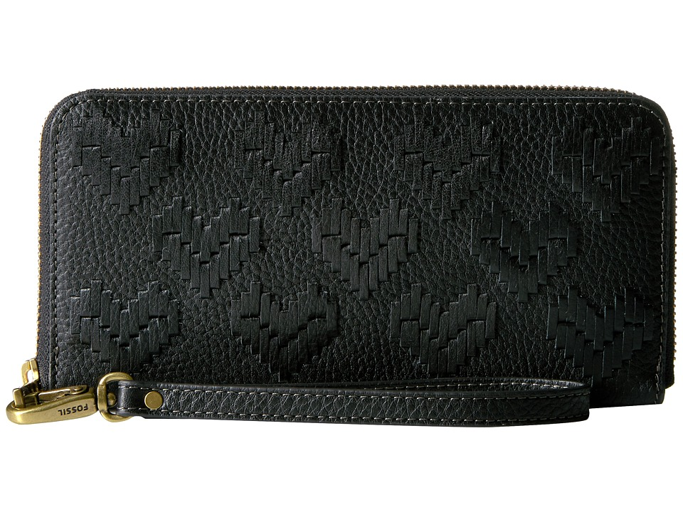 Fossil - Emma Large Zip Clutch RFID (Black 1) Clutch Handbags