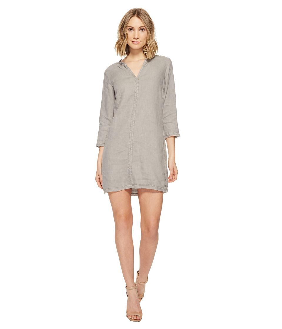Michael Stars Linen 3/4 Sleeve Dress w/ Frayed Edges (Galvanized) Women