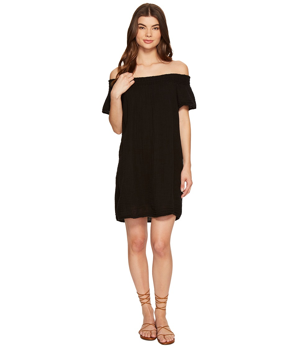 Michael Stars Double Gauze Smocked Off Shoulder Dress (Black) Women