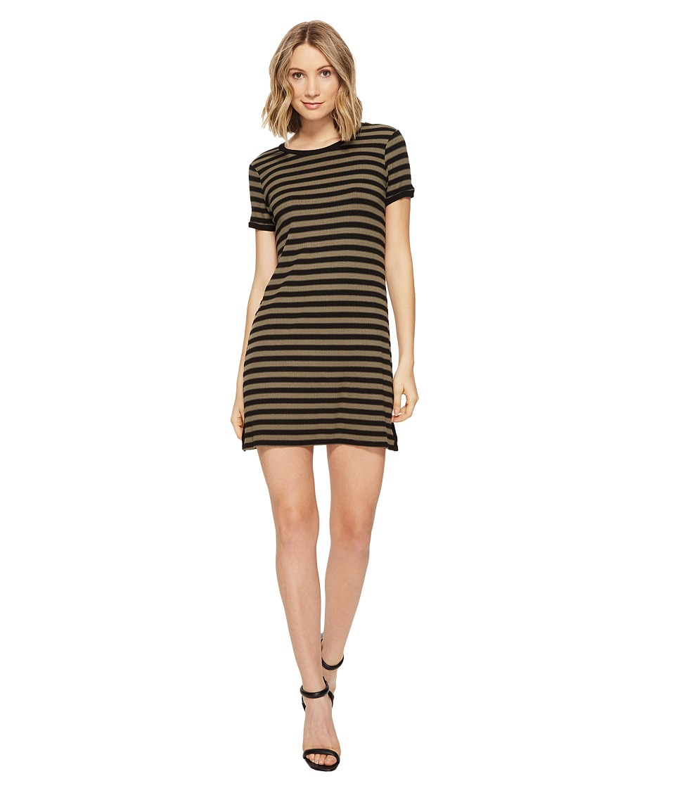 Michael Stars - Sophie Stripe Tee Dress (Olive Moss) Women's Dress