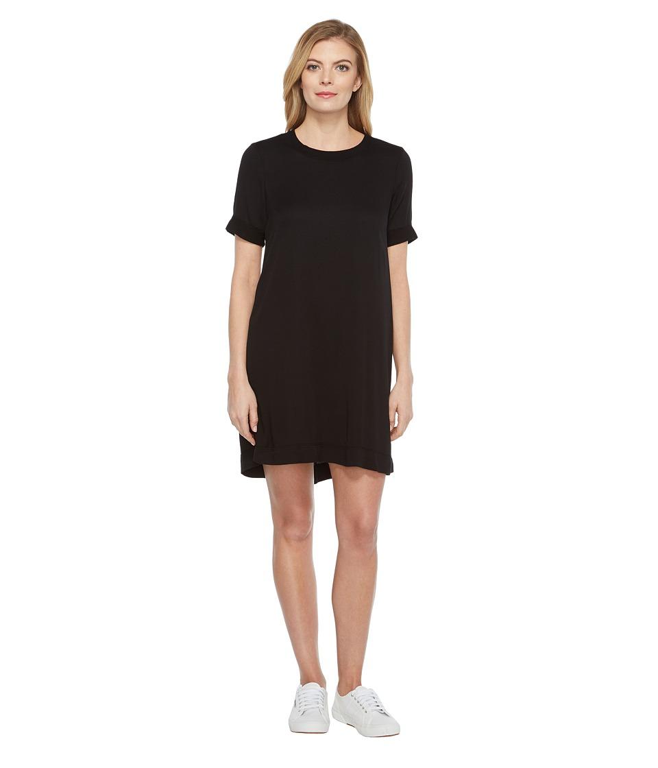 Michael Stars Romy Rayon Rib Neck Tee Dress (Black) Women