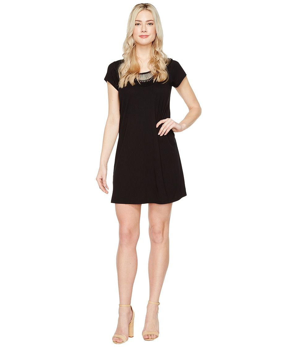 Michael Stars - Tee Dress w/ Crochet Trim (Black) Women's Dress