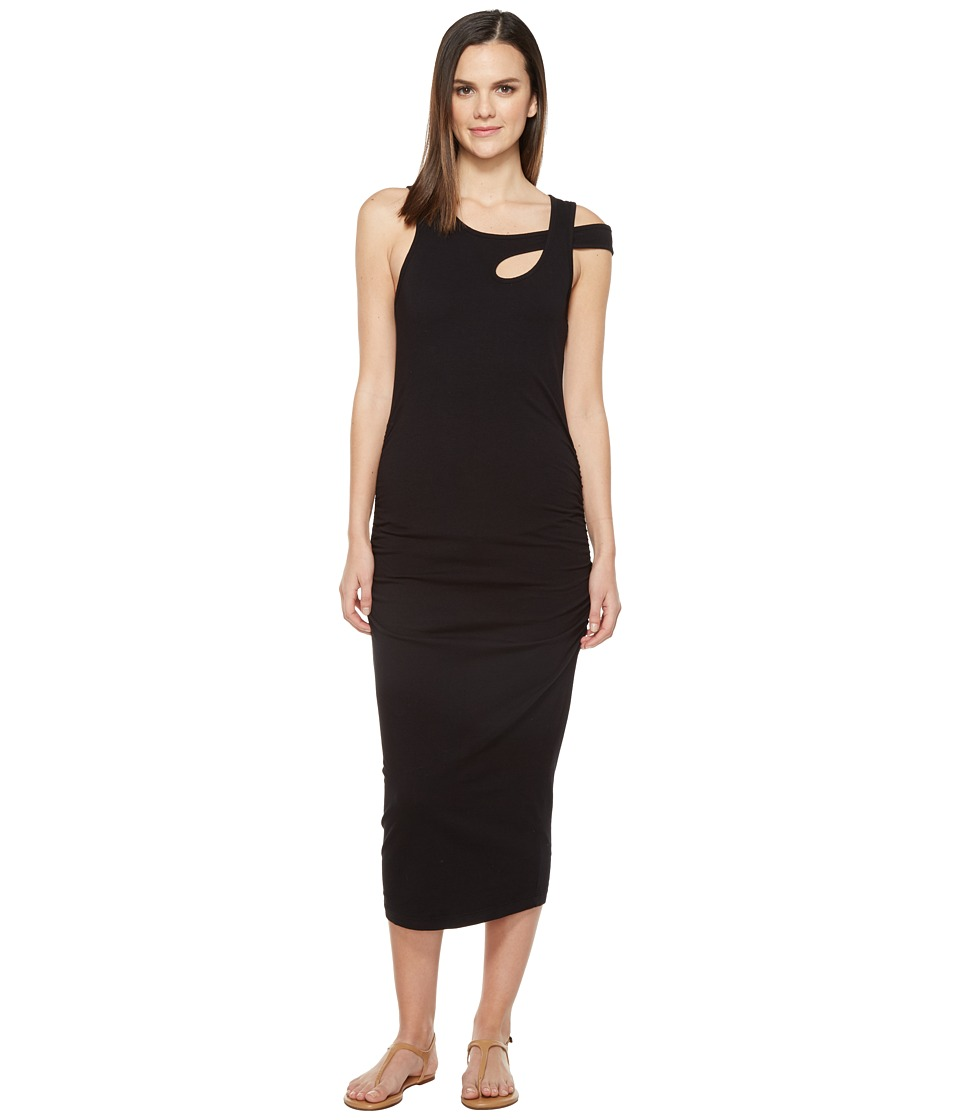 Michael Stars Cross Over Strap Dress w/ Shirring (Black) Women