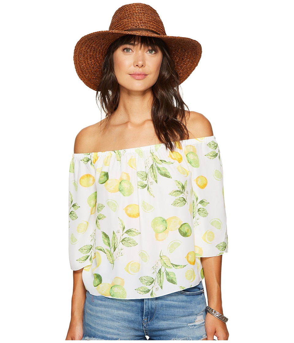 kensie - Lemon Tree Off Shoulder Top KS6U4009 (Citrus Green Combo) Women's Clothing