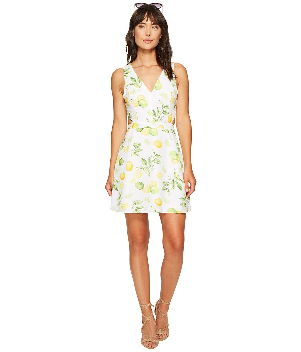 kensie - Lemon Tree Dress with Cut Out Back KS6U7019 (Citrus Green Combo) Women's Dress