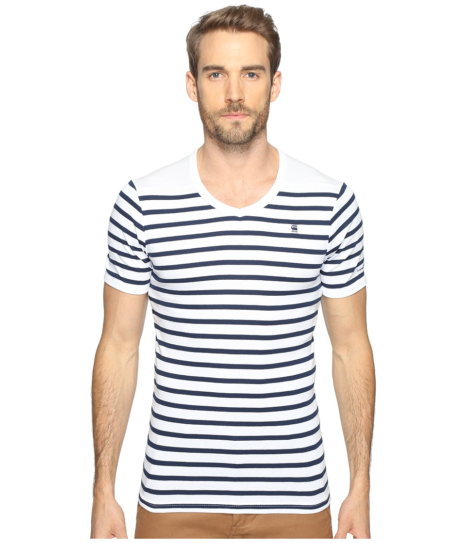 G-Star - Short Sleeve Ramic Stripe V-Neck T-Shirt (Breton Stripe Cool Rib) Men's T Shirt