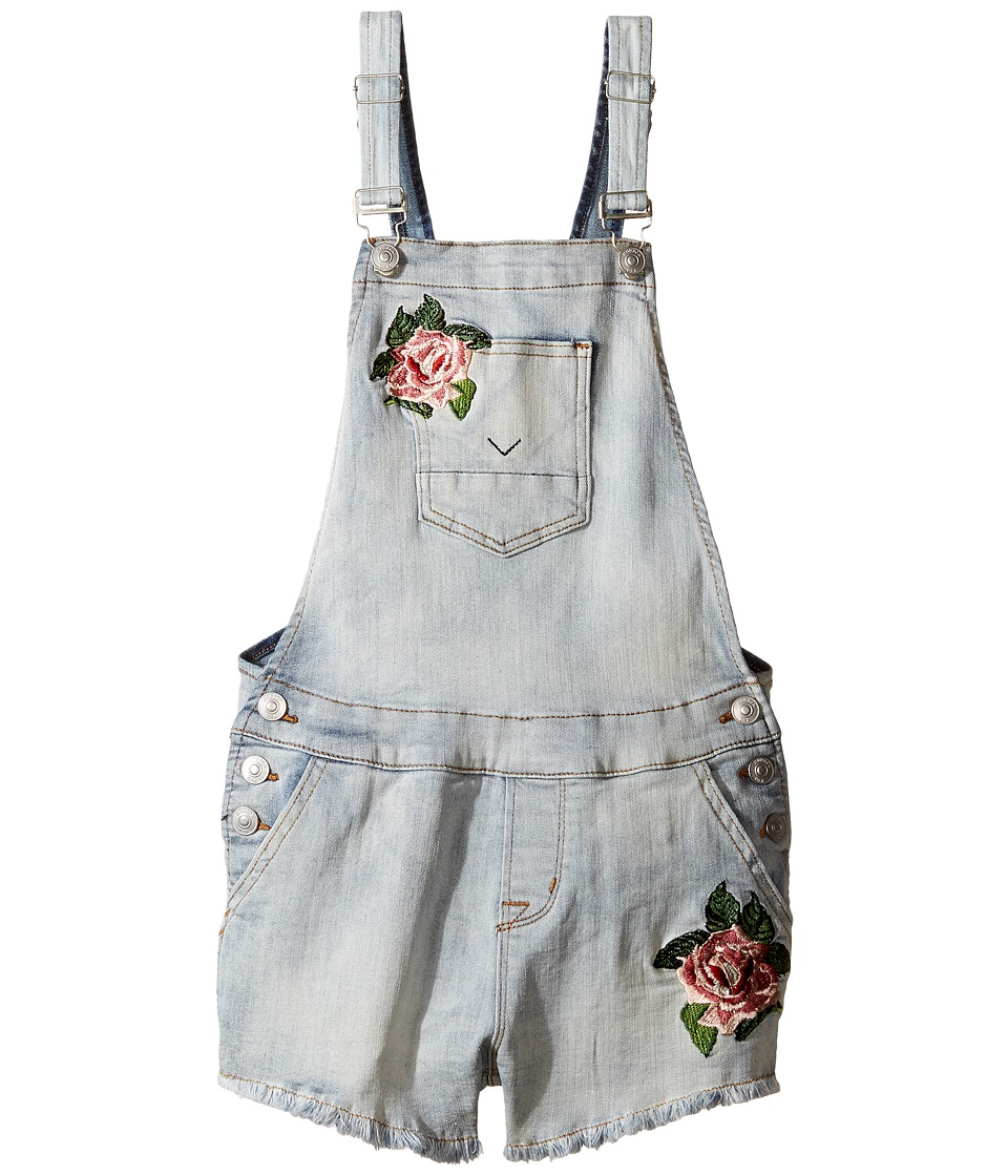 Hudson Kids - Denim Shortall with Floral Embroidery in Medium Stone Wash (Big Kids) (Medium Stone Wash) Girl's Jumpsuit & Rompers One Piece