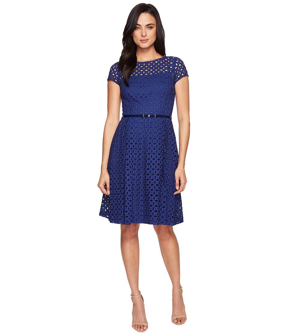 Ellen Tracy - Eyelet Lace Fit Flare (Navy) Women's Dress