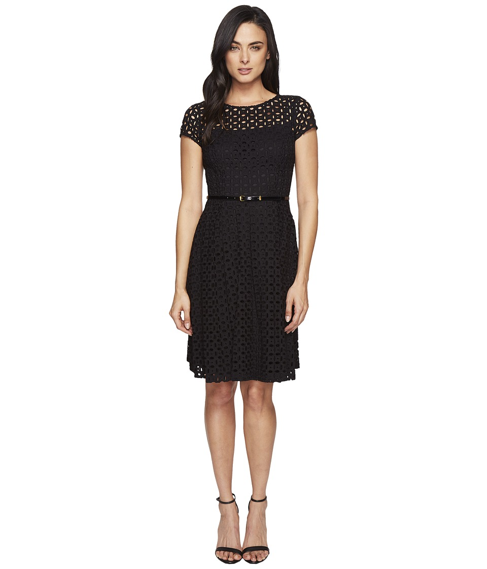 Ellen Tracy - Eyelet Lace Fit Flare (Black) Women's Dress