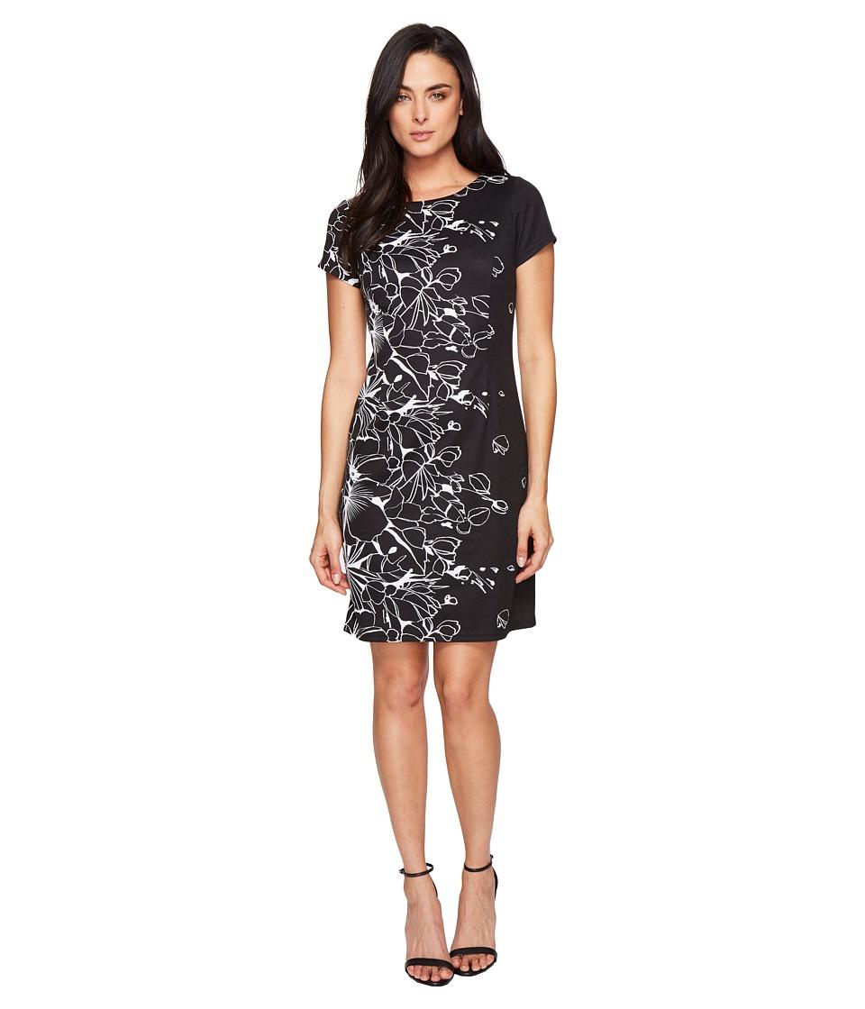 Ellen Tracy Floral Knit Sheath Dress (Black/Ivory) Women