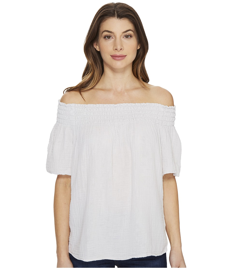 Michael Stars Double Gauze Smocked Off Shoulder (Crescent) Women