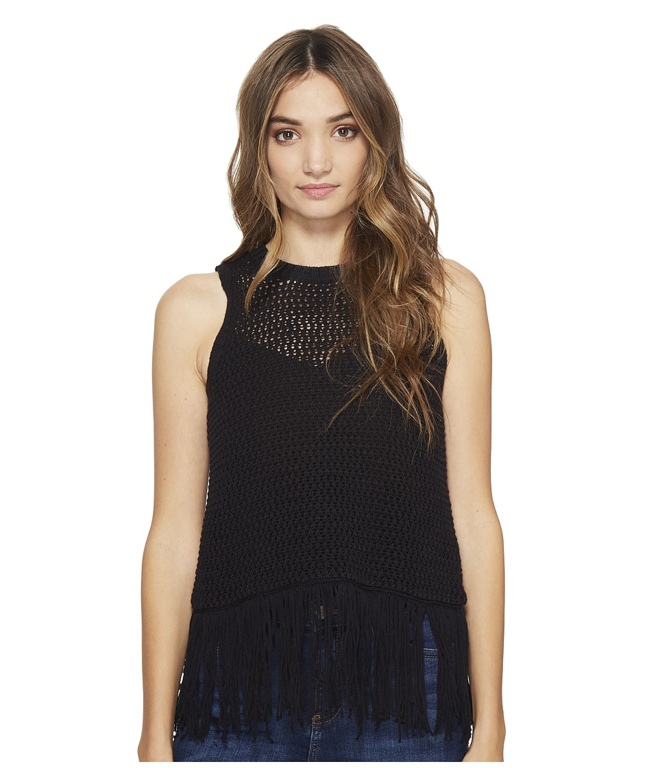 Michael Stars Cotton Slub Split Back Fringe Tank Top (Black) Women