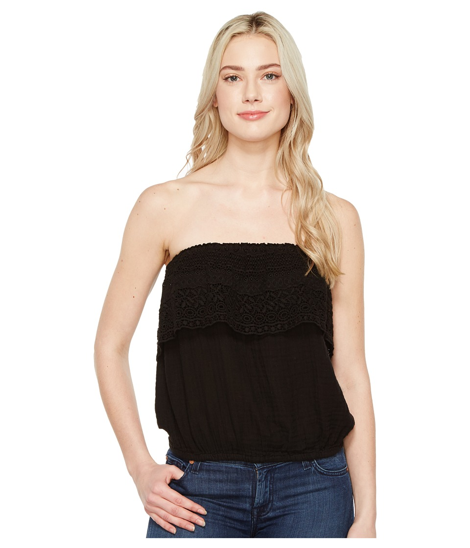 Michael Stars - Double Gauze Tube Top w/ Lace (Black) Women's Clothing