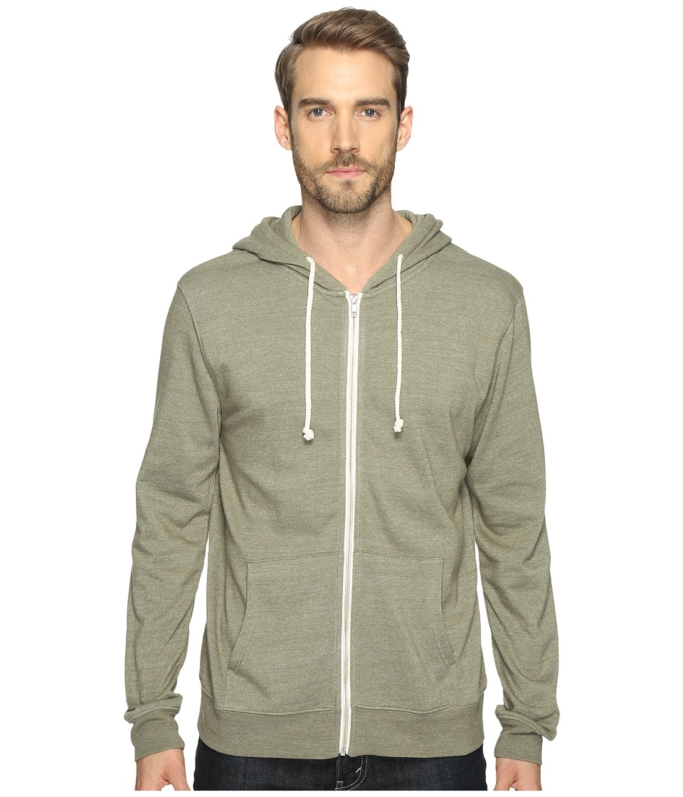 Threads 4 Thought - Triblend Zip Front Hoodie (Forest) Men's Sweatshirt