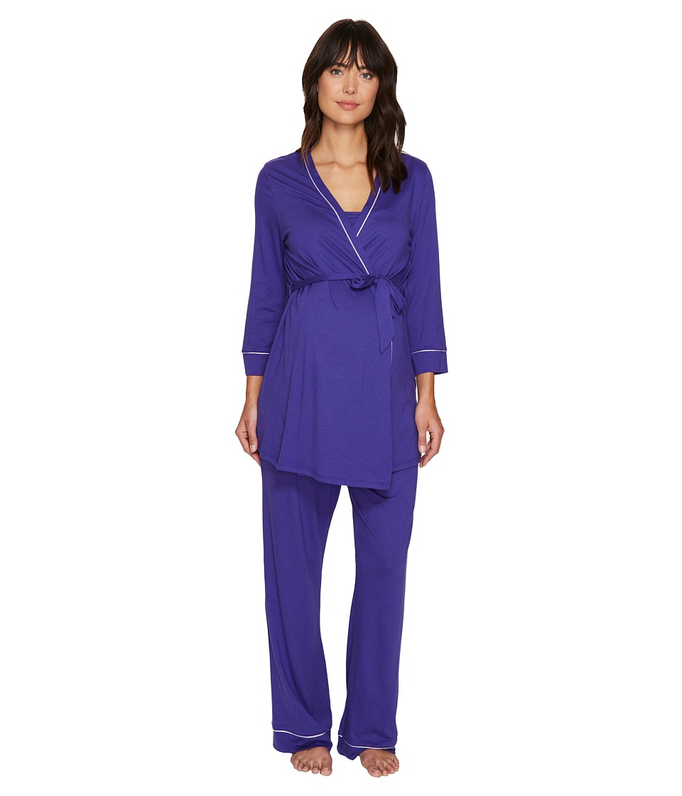 Cosabella - Bella Maternity Three-Piece PJ Set (Regency Purple/Periwinkle) Women's Pajama Sets