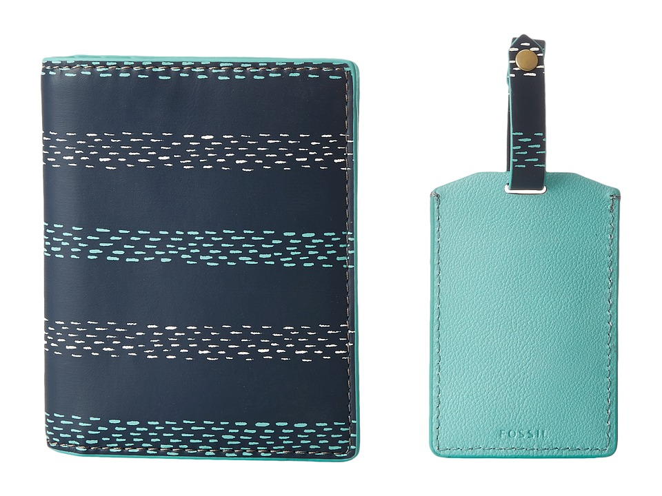 Fossil - Keely Passport Case and Luggage Tag Gift Set (Blue Stripe) Wallet