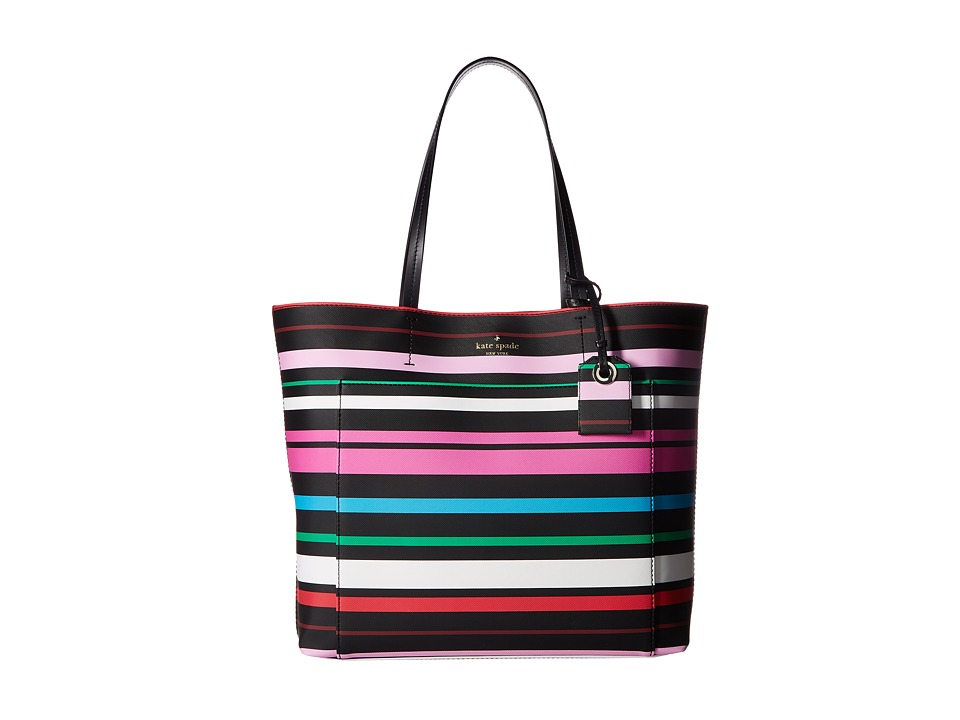 Kate Spade New York - Harding Street Stripe Riley (Black Multi) Handbags