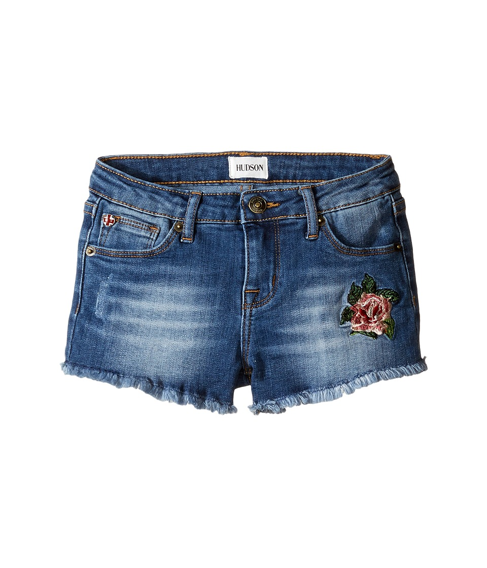 Hudson Kids - Fray Hem Shorts with Embroidery in Cloud Wash (Toddler/Little Kids) (Cloud Wash) Girl's Shorts